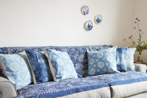 hand dyed natural indigo cushions curtains throws sustainable living interior home accessories living room