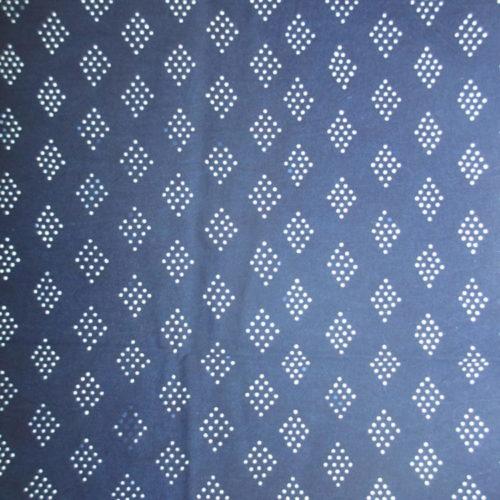 Diamonds pattern indigo artisanal pattern fabric textile handmade geometric design blue cotton
