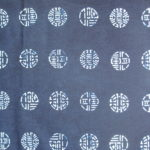 natural artisanal hand dyed blue and white indigo cotton fabric textile geometric good luck pattern