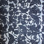 natural artisanal hand dyed blue and white indigo cotton fabric textile floral butterfly pattern