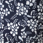 natural artisanal hand dyed blue and white indigo cotton fabric textile floral bird pattern