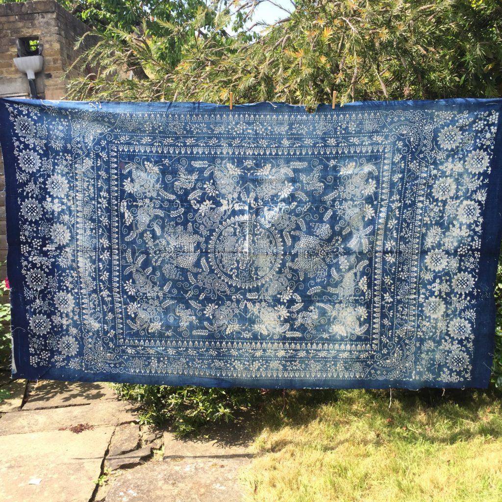 vintage indigo textile fabric