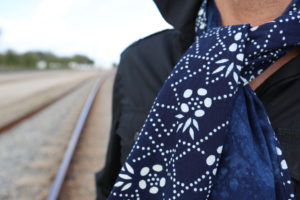 Handmade natural indigo cotton scarves