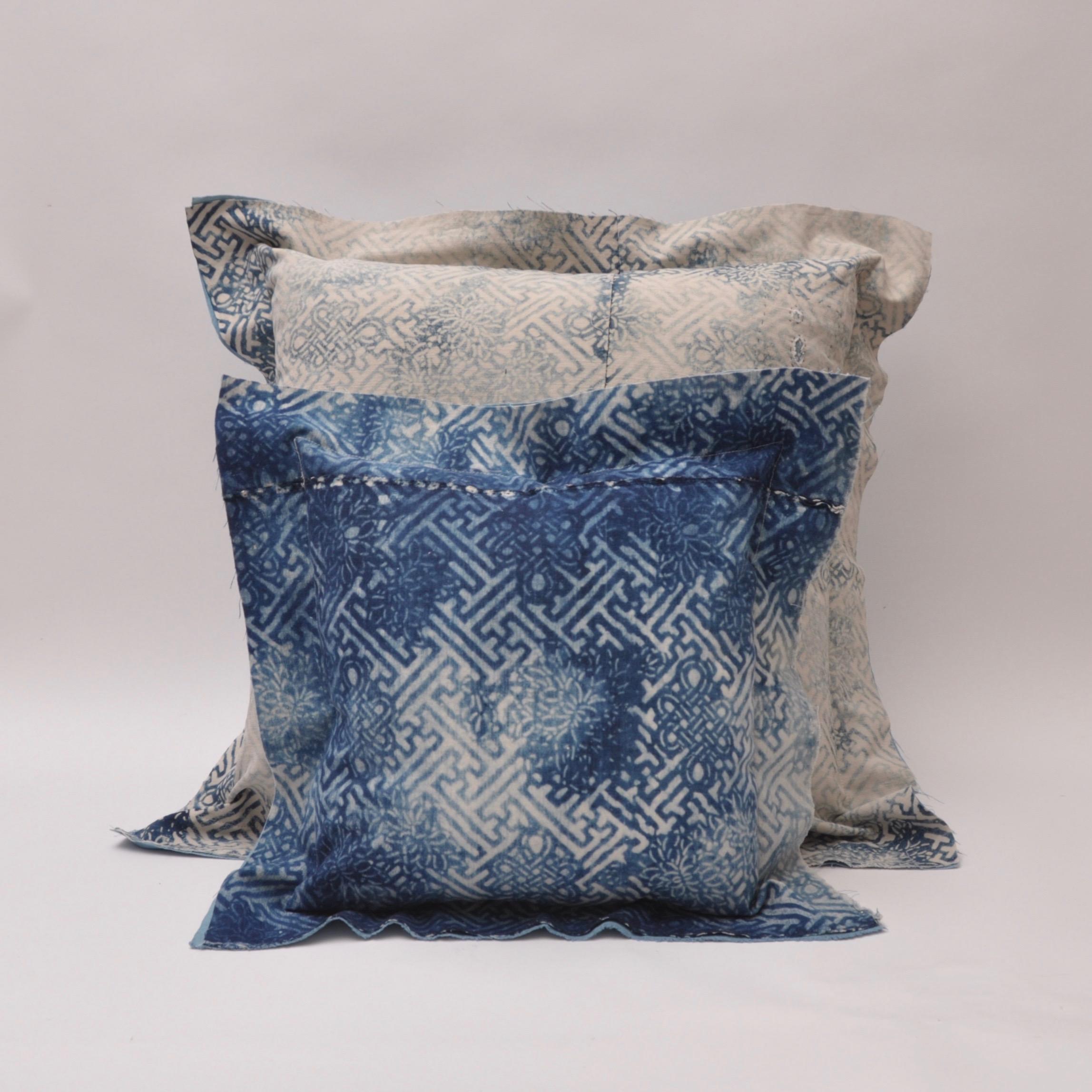 Vintage Indigo Cushion Eternal Knot Pattern Vintage Cotton Bluehanded