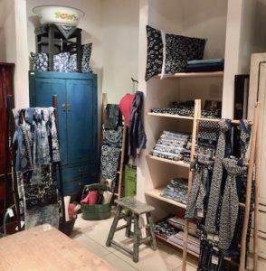 retail seller shop indigo fabric accessories