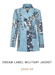 Light indigo fabric with patchwork jacket