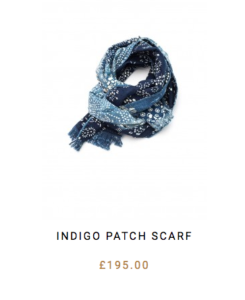 light indigo dye patched scarf