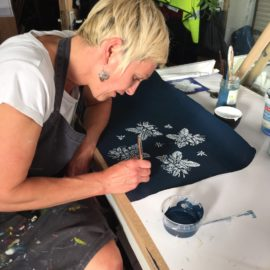 artist collaboration, alex mckenzie, bluehanded, pattern design textile fabric indigo