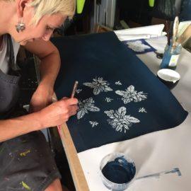 artist collaboration, artist, pattern design, textile design, indigo, hand made, artisanal, design, home decoration, interior design, pattern making, indigo print,