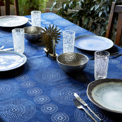 table linen cotton indigo artisanal hand made natural sustainable ethical living artist collaboration Alister Shapley London artist home decoration fabric textile blue and white mid century modern geometric pattern
