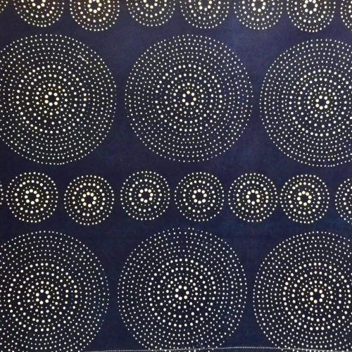 fabric textile blue white interior decoration indigo artisanal geometric pattern mid century modern contemporary Alister Shapley circular round circles