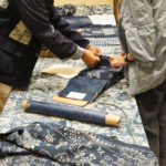 blue and white indigo fabric resist paste textile natural hand made artisanal