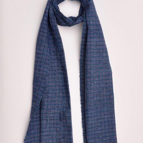 scarf, indigo, vintage, hand woven, cotton,