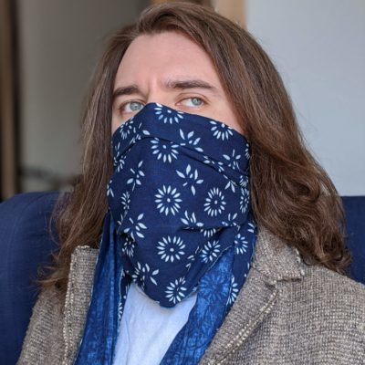 Natural hand dyed indigo cotton face scarf blue and white floral pattern