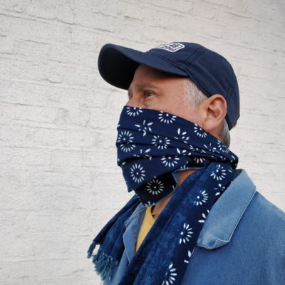 Natural hand dyed indigo cotton face scarf in daisy floral pattern