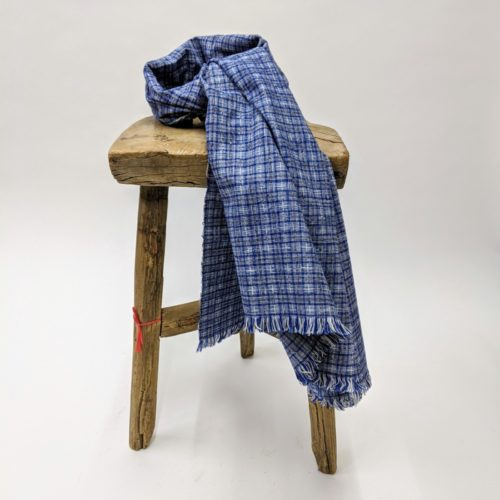vintage hand loomed yarn dye selvedge fabric blue scarf