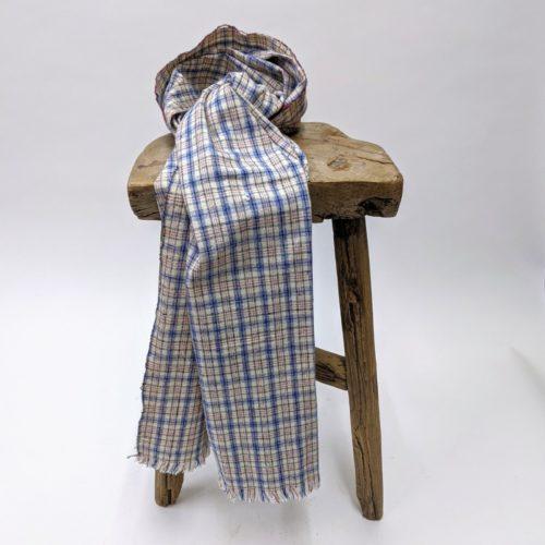 vintage hand loomed indigo yarn dye cotton fabric scarf