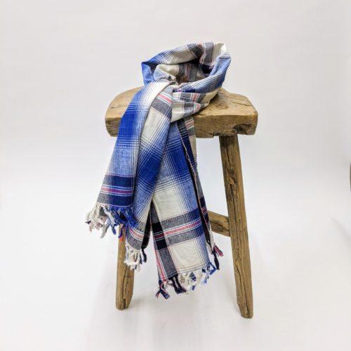 vintage indigo yarn dye hand loomed selvedge cotton plaid fabric scarf