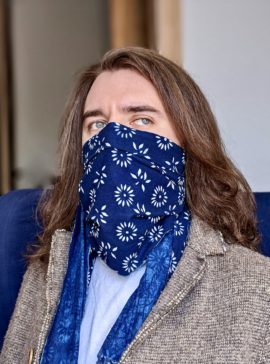 natural indigo cotton face scarf
