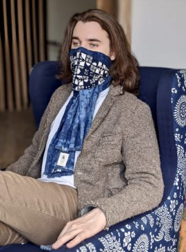 natural indigo dyed cotton scarf