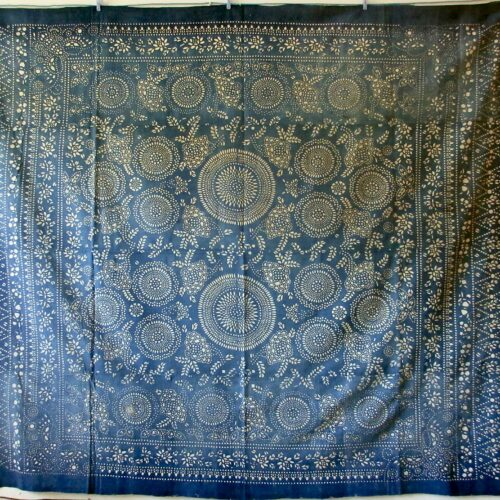 antique indigo katazome dragon cotton throw