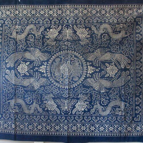 antique indigo katazome dragon and phoenix cotton cloth