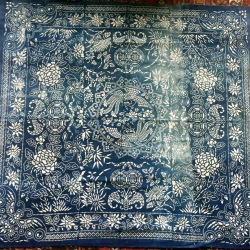 antique indigo katazome cloth