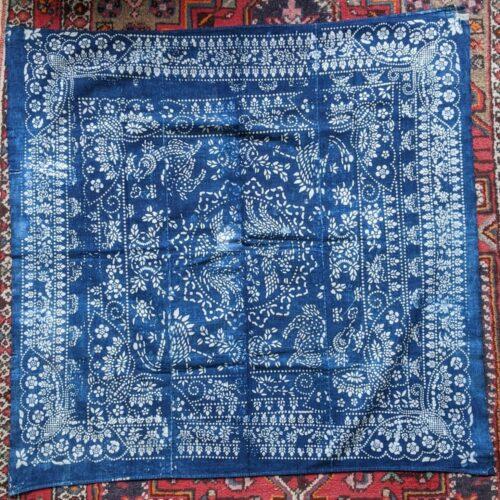 vintage indigo katazome wrapping cloths with boro patchwork