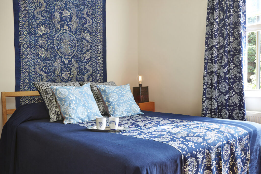 home collection accessories bed spread indigo dyed cotton hand made katazome pattern