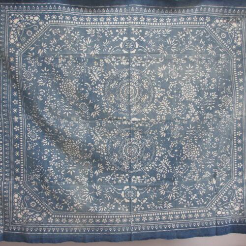 vintage light blue indigo katazome cloths double medallion bed spread